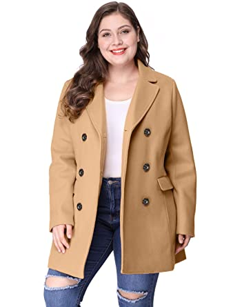 82b774627cf Agnes Orinda Women s Plus Size Notched Lapel Double Breasted Long Coat 2X  Brown