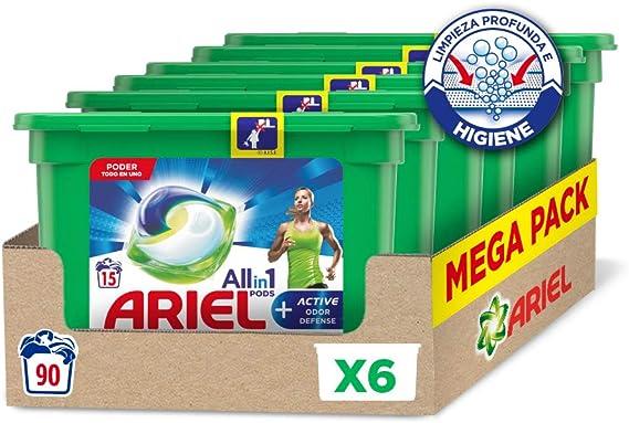 Ariel Pods Allin1 Detergente Lavadora Cápsulas, 90 Lavados (6 x 15), Active Odour Defence