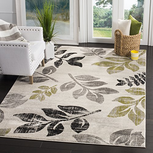 Safavieh Porcello Collection PRLL3729A Ivory and Green Area Rug, 4' x 5'7