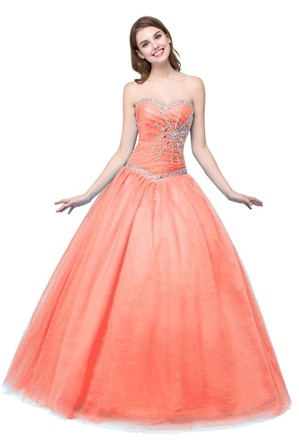 orange Vantexi Women's Strapless Tulle Beaded Long Quinceanera Dresses Prom Gowns