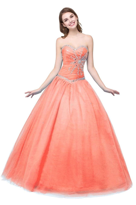 orange Vantexi Women's Strapless Tulle Beaded Long Quinceanera Dresses Prom Gowns