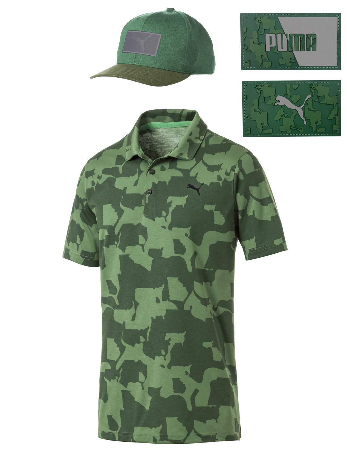 Rickie Fowler Masters Puma Golf Polo & Hat Bundle (2019)   Puma Union Camo Polo & Union Camo 110 Snapback (Juniper/Greener Pastures, Large)