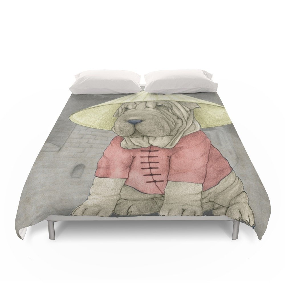 Society6 Shar Pei On The Great Wall Duvet Covers Full: 79'' x 79''