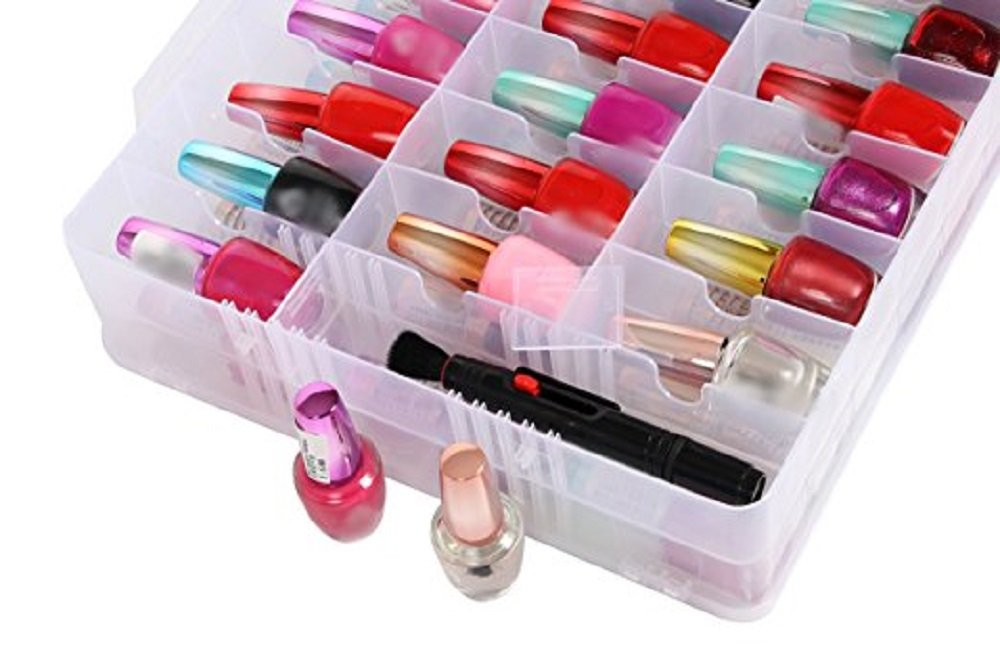 Portable Clear Double Side Nail Polish Organizer Case Holder Up to 48 Bottles Adjustable Spaces Divider Double Side Opening With Snaps Portable Handle Deep Pocket.