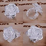Sumanee New Women Fashion Flower Ring Sterling Plated Jewelry Size 8