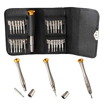 KINYOOO Destornilladores de Precisión, 25 en 1 multiuso Mini Kit, Para Celular, Móvil, iPhone 5, 5s, 6s, Samsung, HTC, Nokia, Laptop, Ordenador, ...
