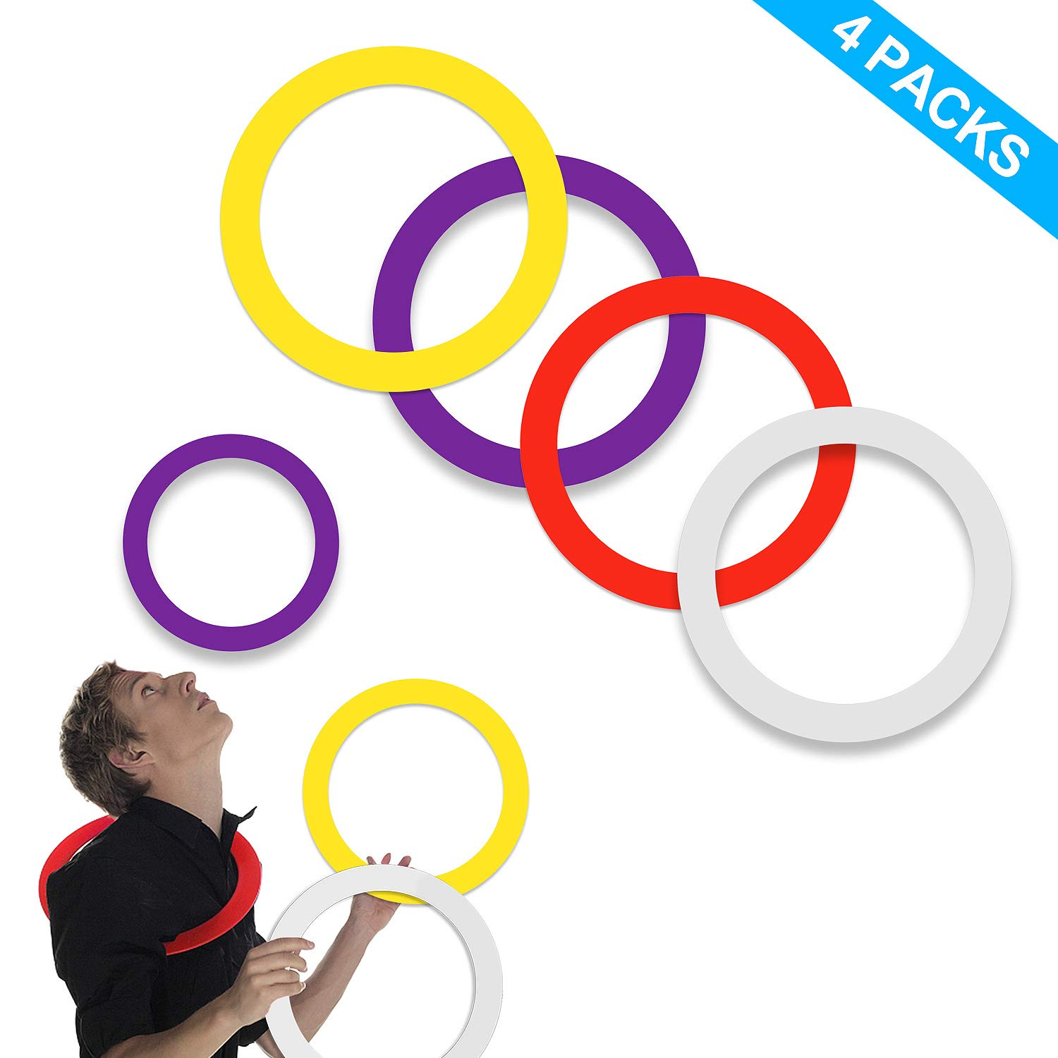 YuXing Juggling Rings (12.6'' 4.0 Ounce) Set of 4 for Beginners and Professionals, Red Yellow White Purple