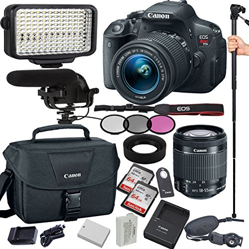 Canon EOS Rebel T5i 18.0 MP Digital SLR Camera with EF-S 18-55mm IS STM Lens, Filters , Lens Hood , Monopod , 128GB Memory , Led Video Light , Microphone , Canon Case , Extra Battery & Charger
