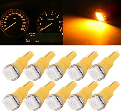 Amber 2x 4 SMD T10 194 12v Interior Instrument Panel Gauge Replacement Bulbs