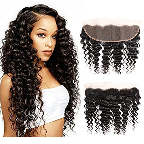 8A Deep Curly Wave Lace Frontal Closure 13×4 Ear to Ear Frontal Closure Bleached Knots 100% Unprocessed Brazilian Deep Wave Hair Lace Frontal Closure Free Part (16 inch lace frontal closure) Review