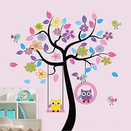 Ufengke Coloridos Búhos De Dibujos Animados árbol De Flores Aves