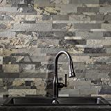 Aspect Peel and Stick Stone Overlay Kitchen Backsplash - Medley Slate (approx. 15 sq ft Kit) - Easy DIY Tile Backsplash