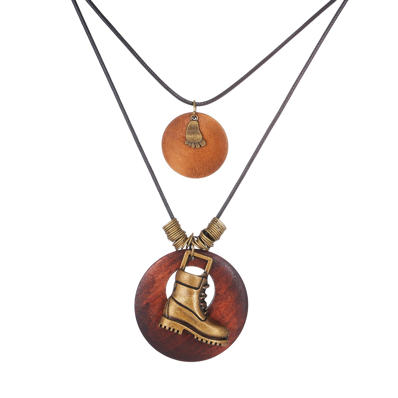 JJTZX Wood Simple Circle Pendant With Cute Charms Long Leather Necklace Sweater Chain Necklace Gift for Mom (Boot)