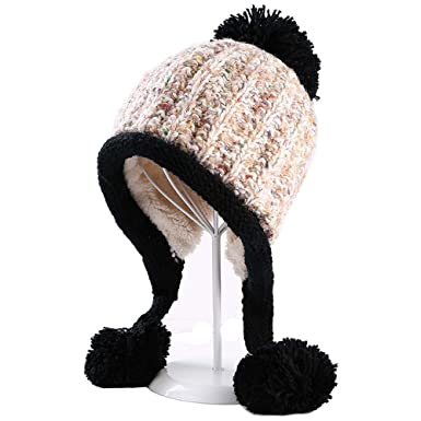 ddc7ce28059 YEKEYI Winter Hats Soft Warm Cable Beanie Hat Warm Knitted Pom Pom Beanie  Hat Earflap Caps  Amazon.co.uk  Clothing