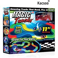 Kacsoo Magic Race Bend Flex and Glow Tracks-220 Pieces,Plastic Magic 11 Feet Long Flexible Tracks Car Play Set for Kids (Multicolour) (Foot Tracks)