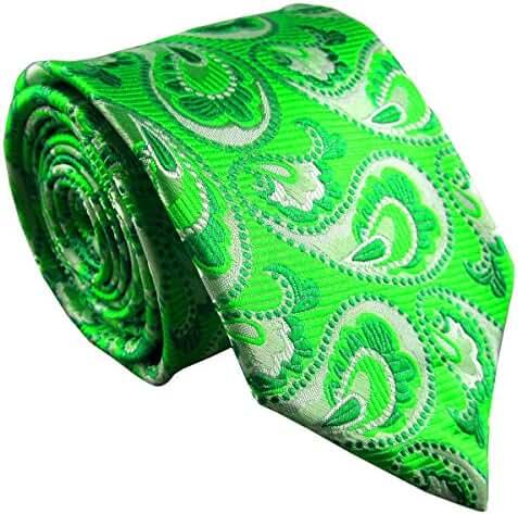 MY&HB Mens Classic Neckties Tie Set Silk Green Paisley for Men Fashion