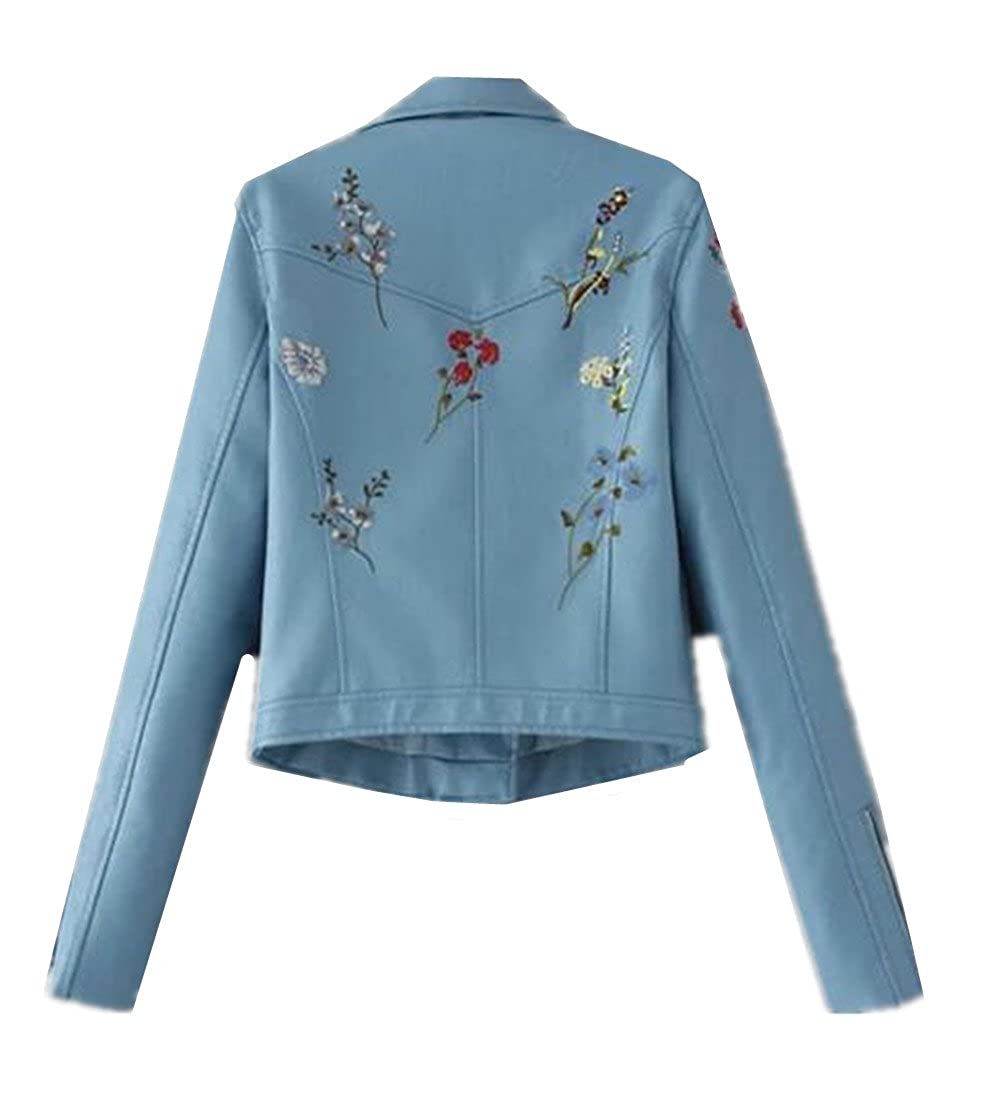 XIUWU Womens Floral Embroider Faux Leater Jackets Short PU Coats