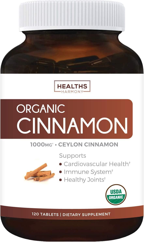 USDA Organic Ceylon Cinnamon (120 Tablets & Vegetarian) 1000mg per Serving for Natural Blood Sugar Support - Cinnamon Bark Powder from Cinnamomum Verum Supplement - No Capsules or Pills