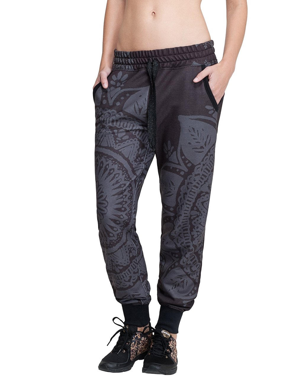 Desigual Donna Pantaloni L Woven Long Track Suit Pants, Grigio, XS, 67P2SB1 DESBK|#Desigual