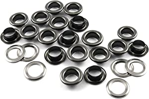 """CRAFTMEMORE 1/4"""" Hole Size 100 Sets Gunmetal Black Metal Grommets Eyelets with Washers for Bead Cores, Clothes, Leather, Canvas (Gunmetal, 100 Pack)"""