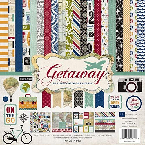 (Echo Park Paper Company Getaway Collection Scrapbooking Kit by Alisha Gordon & Kasie Fry)