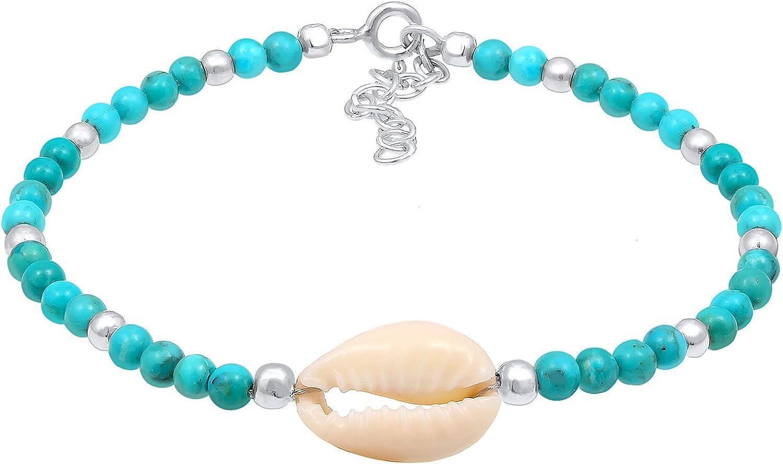 Nenalina - Pulsera para mujer de perlas de turquesa de 3 mm con concha de kauri y bolas de plata de ley 925, hecha a mano, para mujer, longitud 16 cm