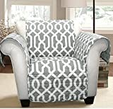 MN 1 Piece Grey Geometric Chair Protector, Medallion Shape Pattern Interlock Chain Chic Ikat Jacquard Modern Sleek Trendy Furniture Protection Covers Couch Protection Cover Pets Animals, Polyester
