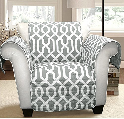 MN 1 Piece Grey Geometric Chair Protector, Medallion Shape Pattern Interlock Chain Chic Ikat Jacquard Modern Sleek Trendy Furniture Protection Covers Couch Protection Cover Pets Animals, Polyester by MN