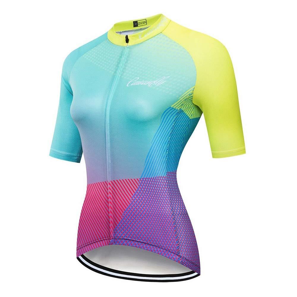 L.Z.HHZL Reittrikots Fahrradtrikot for Frauen Farbe Kurzarm Feuchtigkeitstransport Fahrradtrikot Wandern Laufbekleidung Fahrradtrikot