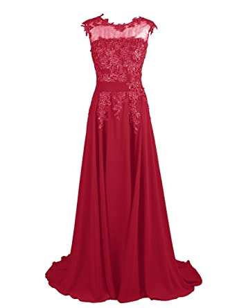 Dresstells Long Bridesmaid Dress Applique Prom Dress Evening Party Gowns - Red -