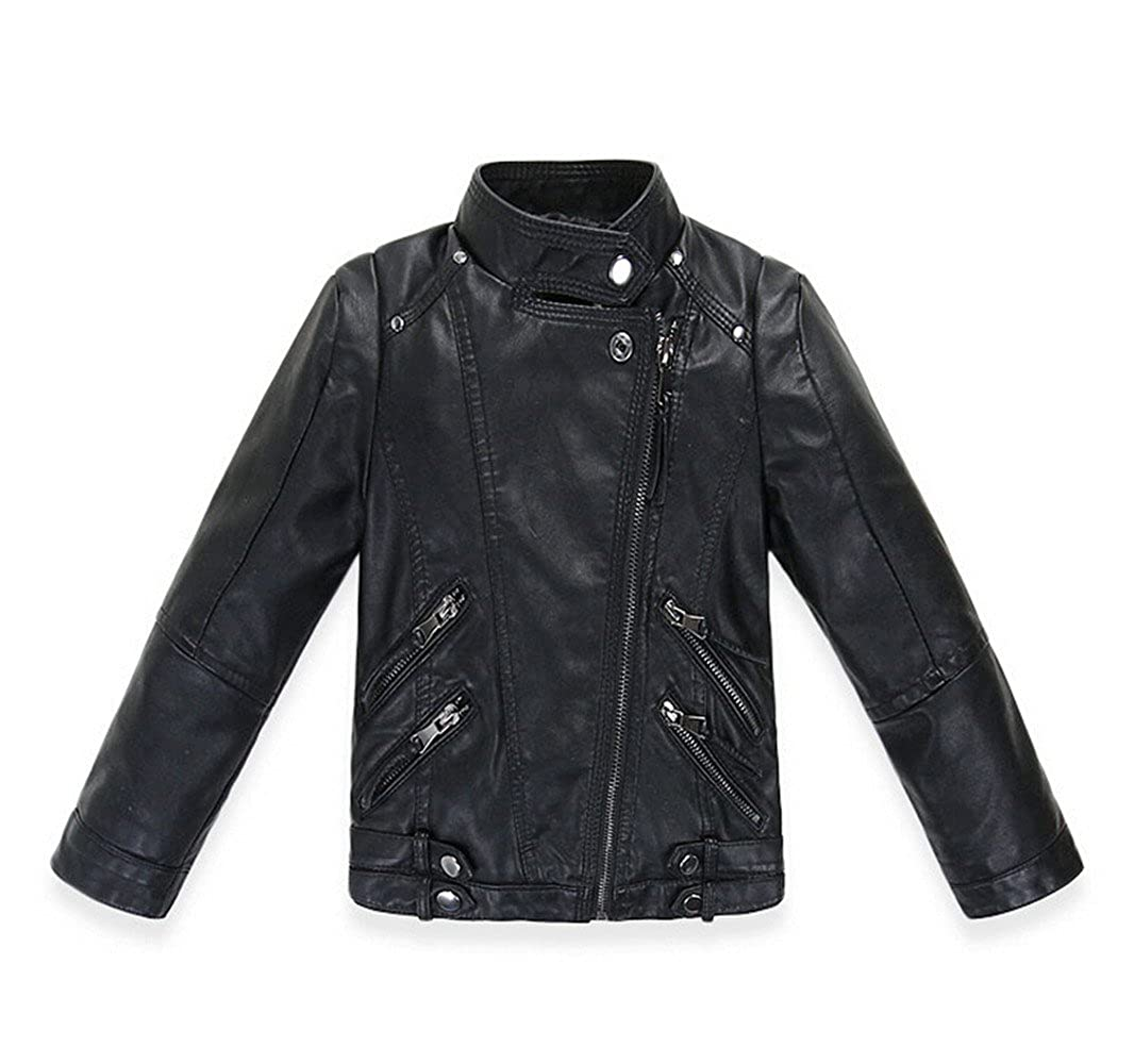 LJYH Boys Spring Motorcycle Faux Leather Jacket Baby Double zipper PU Coat