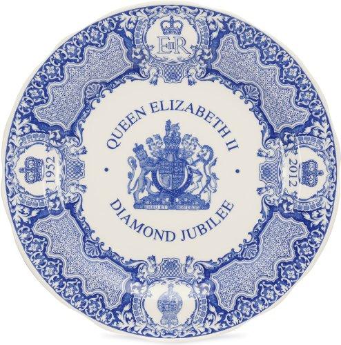 (Spode Blue Room Diamond Jubilee Queen Elizabeth II Plate 10.5