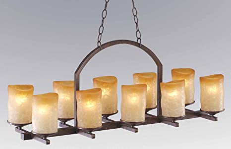 10light linear Veranda chandelier with rustic glass candle shades – Linear Candle Chandelier