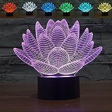 3D iLLusion LED Night Light Ton LED Lamp,7 Colors Change Art Sculpture Lights Produces Unique (Lotus Flower)