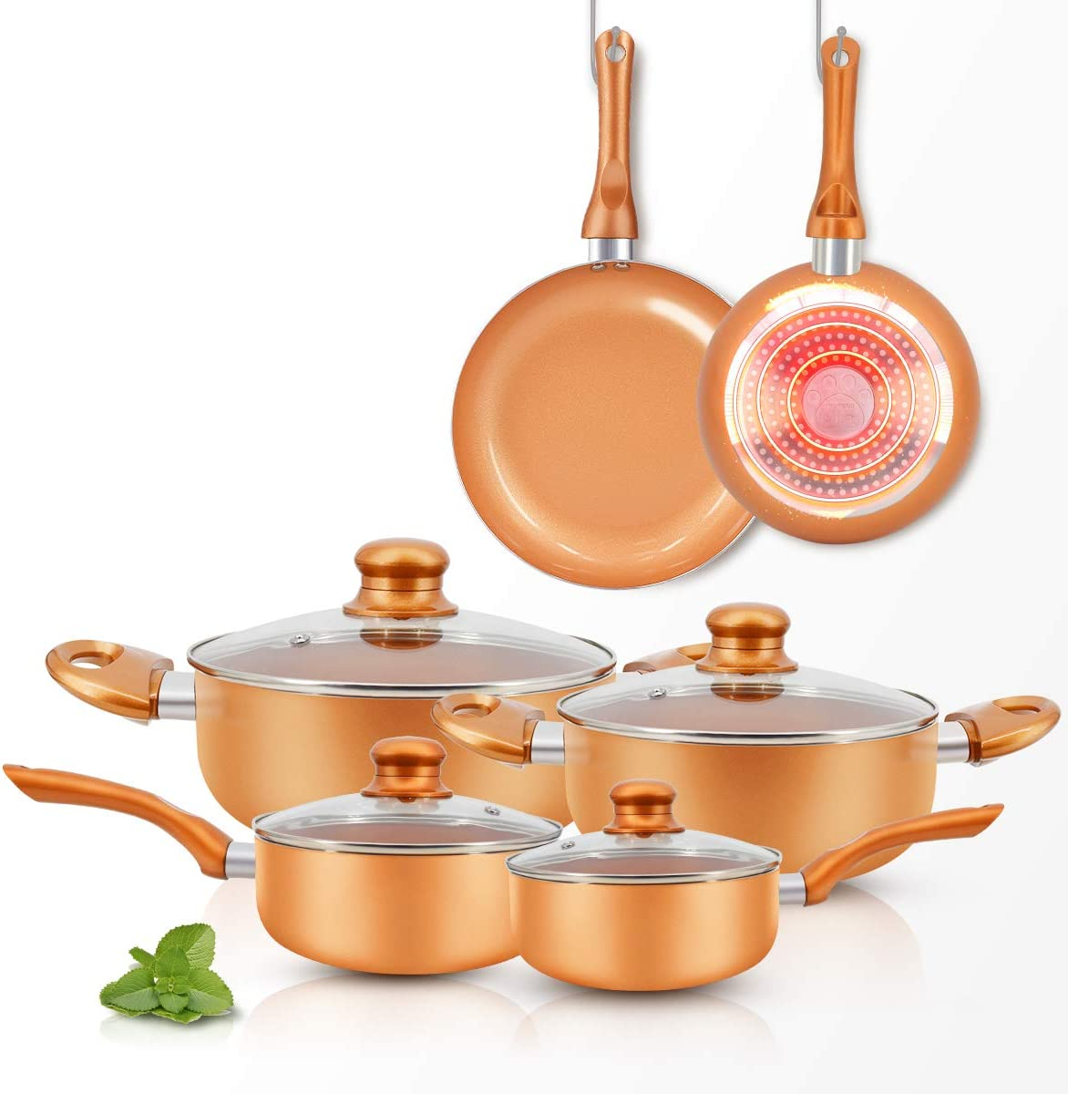 FRUITEAM 10pcs Cookware Set Ceramic Nonstick Soup Pot/Milk Pot/Frying Pans Set | Copper Aluminum Pan with Lid, Induction Gas Compatible, 1 Year Warranty Mothers Day Gifts for Wife…