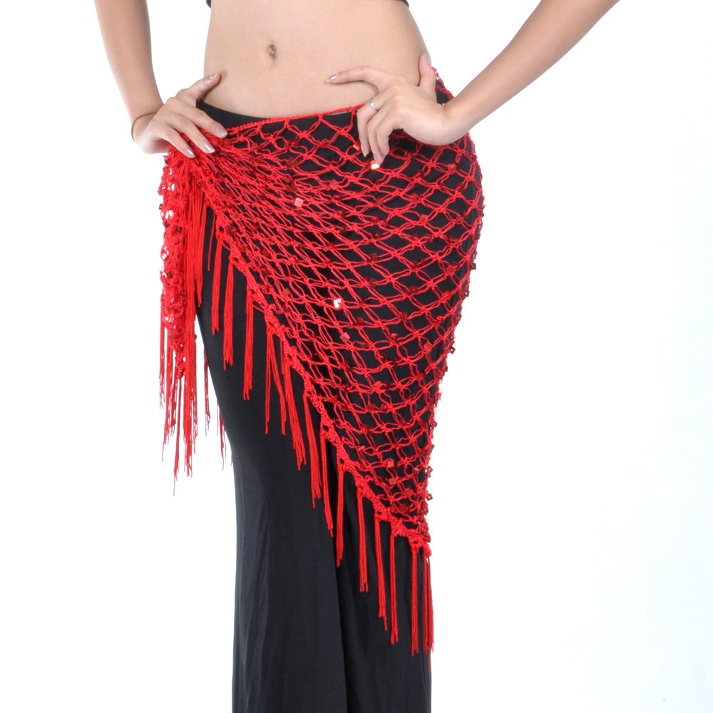 HOEREV Tribal Belly Dance Hip Scarf & Shawl With Paillettes And Fringe