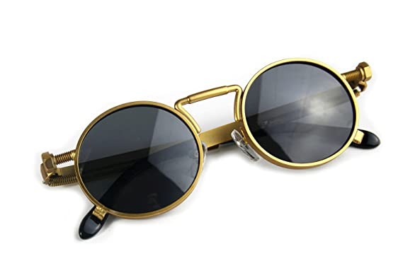a45d92ccb6e Image Unavailable. Image not available for. Color  Round Sunglasses Gold  Vintage Retro Unisex Steampunk ...