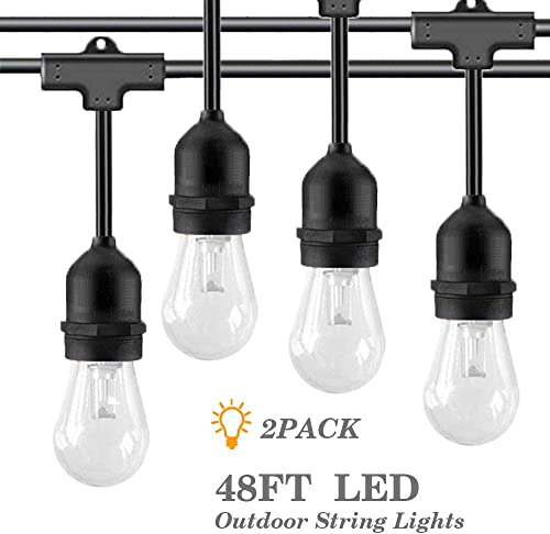 YVETTE 2 Pack 48FT LED Outdoor String Lights, Weatherproof Vintage Patio Lights, 15 E26 Sockets 18 0.9W S14 Bulbs 3 Spares , Dimmable Commercial 2700K WarmWhite ETL Approved for Garden Porch