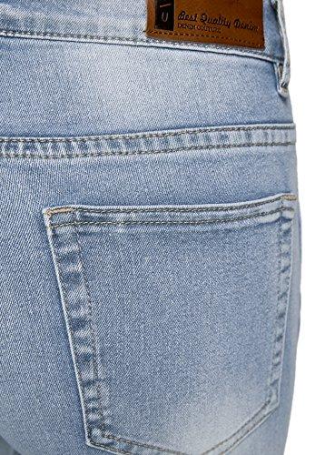 Bolsillos Mujer Ultra oodji en Bordado Vaqueros 7000w Slim los con Azul xw8665Zqn4
