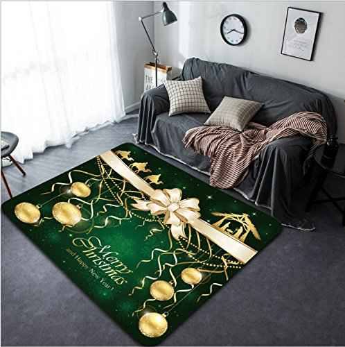 Vanfan Design Home Decorative 342468377 Green Christmas background with golden baubles and Christian scene with three wise men and the birth of Jesus illustration Modern Non-Slip Doormats Carpet for by vanfan