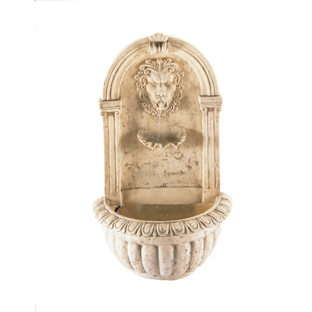 Amazon.com: Lion Head Outdoor Wall Mount Garden Water Fountain: Home U0026  Kitchen