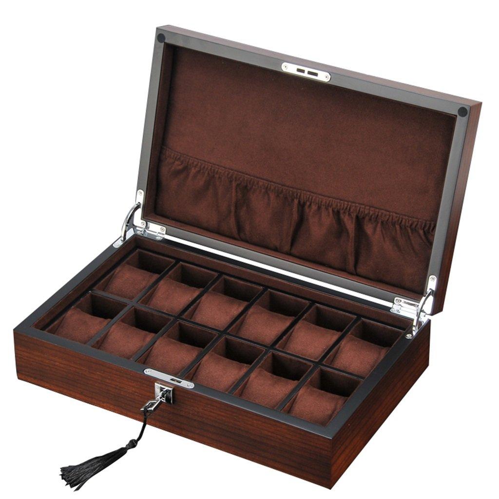時計用収納ボックス(男性用または女性用)12個の腕時計、柔らかい枕で腕時計、腕時計、腕時計、ジュエリーブレスレット、ディスプレイコレクション、旅行用ケース(ベージュ/ブラウンライニング)-36X22X10cm (色 : Brown) B07F362438Brown