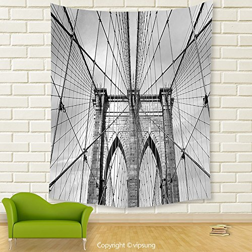 Vipsung House Decor Tapestry_Landscape Usa New York Brooklyn Bridge Cityscape Scenery Photo Print Black White And Charcoal Grey_Wall Hanging For Bedroom Living Room Dorm (Halloween Dog Parade Brooklyn)