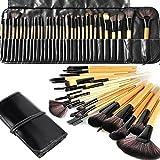 Makeup Brushes, Makeup Brush Set, MONOLED 32 PCS Natural Synthetic Bristle Wooden Handle Cosmetics Brushes Kit Wooden (Wooden)