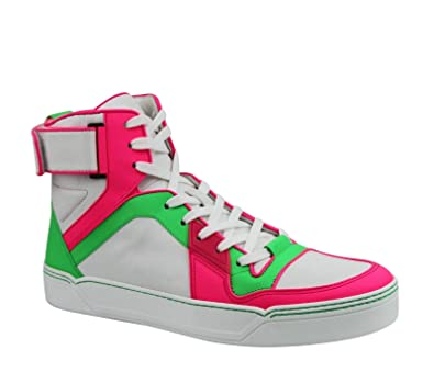1134f05034c Amazon.com  Gucci High top Green Pink White Neon Leather Sneaker with Strap  386738 5663  Shoes