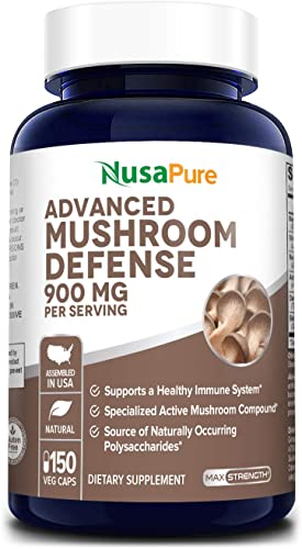 Advanced Mushroom Defense 900mg 150 Veggie Caps Non-GMO Gluten Free – Deep Immune System Support – Reishi, Maitake, Shiitake, Astragalus, Dandelion Beta Glucan