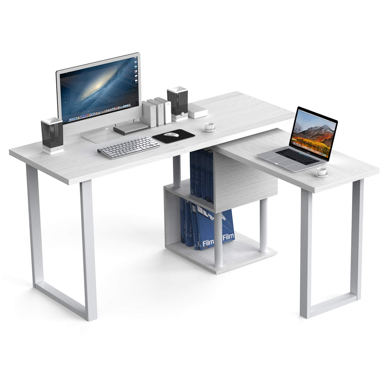 55 Large Size L-Shaped Computer Desk,Workstation with Storage Shelves,360 Rotating Corner Desk,Study Writing Table Home Office Desk White