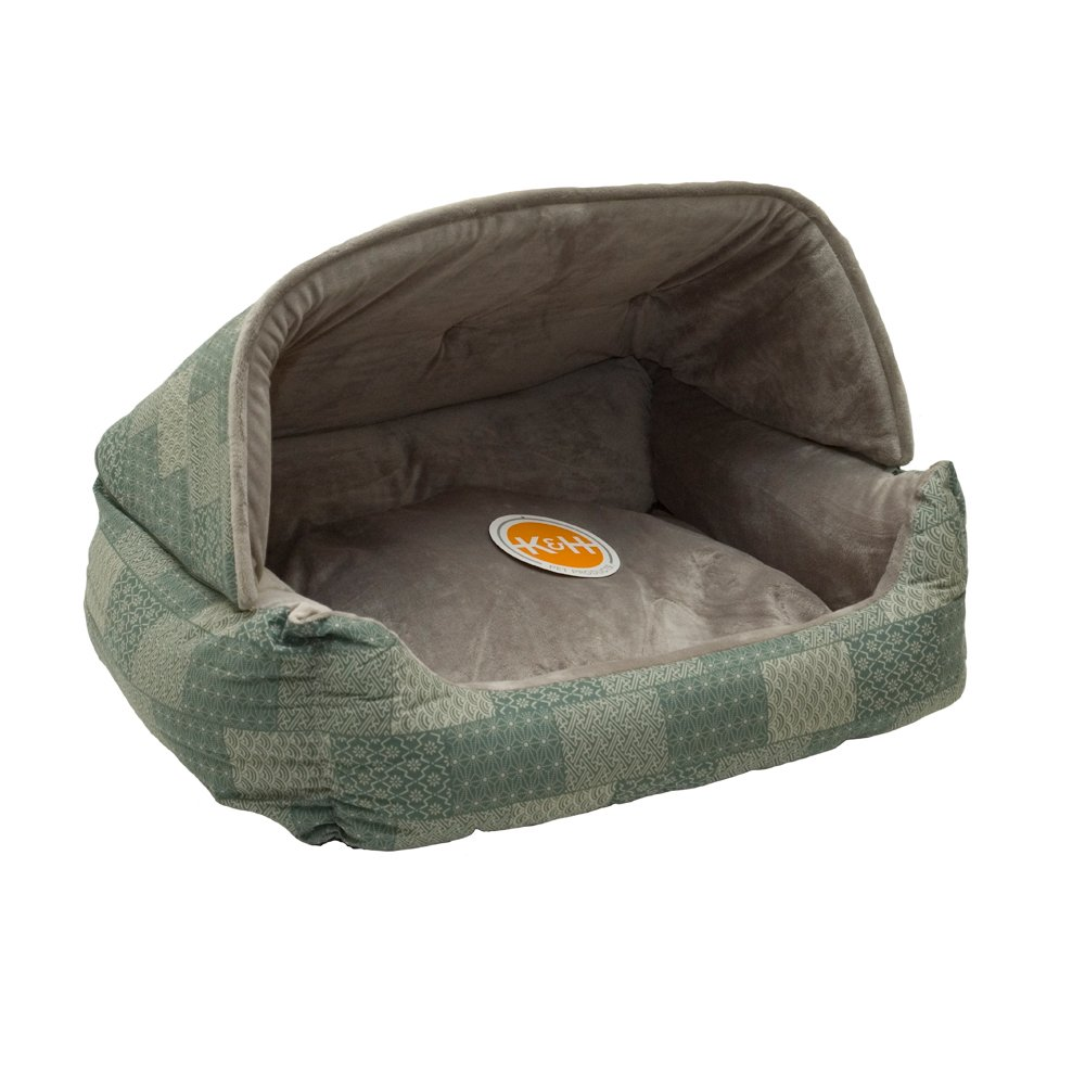 K&H Pet Products Hooded Lounge Sleeper Pet Bed Teal Patchwork Print 20'' x 25''