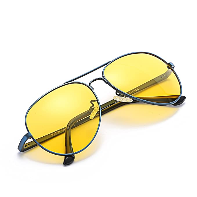 Gafas De Sol Amarillas Conducir Nocturnas para Hombre Mujer Polarizadas Aviador - Protección UV 400 (