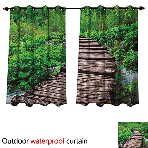 Forest Outdoor Balcony Privacy Curtain Pathway in Pond Over The Lake Natural Organic Life Rainforests into The Wild Photo W84 x L72(214cm x 183cm)